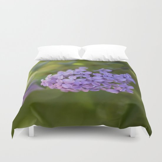 Lilac syringa in LOVE - Spring Tree Flower photography Duvet Cover