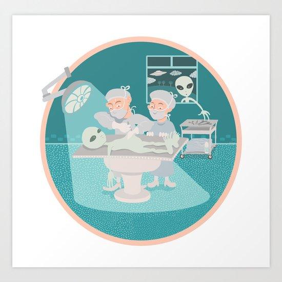 alien autopsy Art Print