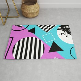 Stripes And Splats 1 - Wacky, Random, Abstract, Black And White Stripes, Blue and pink Artwork Rug