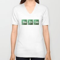 bazinga V-neck T-shirts featuring Breaking Bazinga by dutyfreak