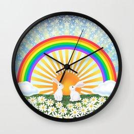 rainbow, sunshine, bunnies, & daisies Wall Clock