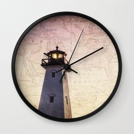 Lighthouse Map Wall Clock