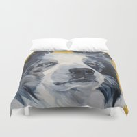 border collie Duvet Covers featuring Belle the Border Collie Dog Portrait by Barking Dog Creations Studio