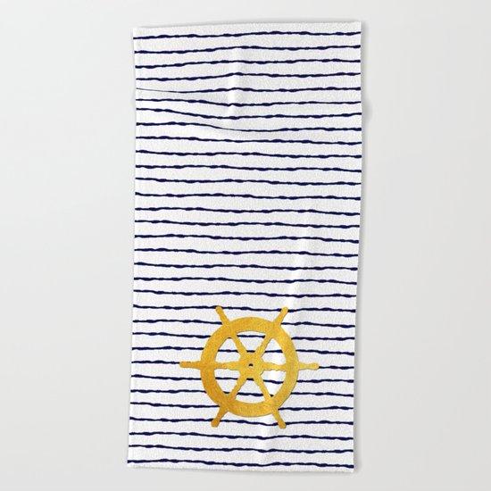 Marine pattern- blue white striped with golden wheel Beach Towel