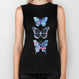 Butterflies Three Blue Clothes Women Biker Tank