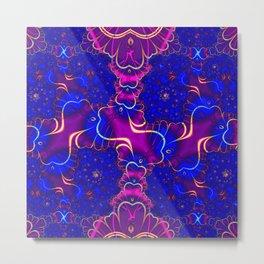 Purple and Blue Fractal Metal Print