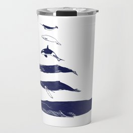 Whale Art - Narwhal / Beluga / Killer Whale Orca / Humpback / Sperm / Blue Travel Mug