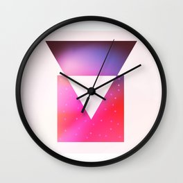 Triangle meets square geometric composition Wall Clock