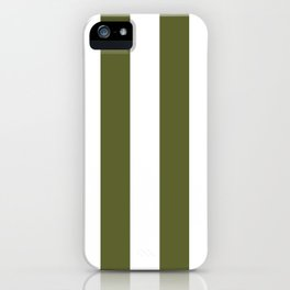 Dark Terrarium Moss Green and White Wide Vertical Cabana Tent Stripe iPhone Case
