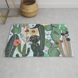 Succulents, moon and stars pattern Rug