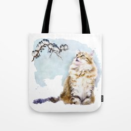 Cute Cat on the Lurk Watercolor Painting Tote Bag