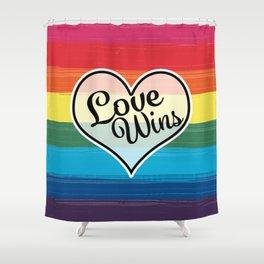 LGBTQ+ Pride Love Wins Paint Stroke Design Shower Curtain