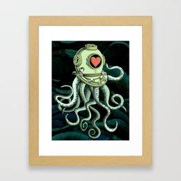 octopus diver in love Framed Art Print