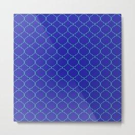 Modern Ethnic Style (Teal & Navy Blue Pattern) Metal Print