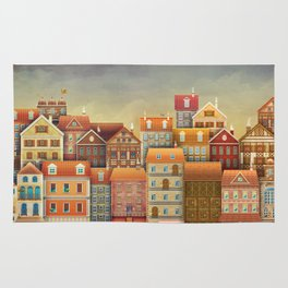 Illustration of  cute houses in sky Rug