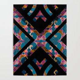 Teal Silk Brocade Geometric Print Poster