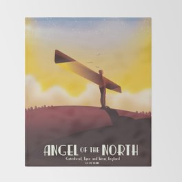Angel of the North Travel poster. Throw Blanket