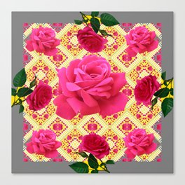 PINK GARDEN ROSES PATTERN  GREY ABSTRACT Canvas Print