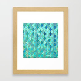 Aqua Teal Mint and Gold Oriental Moroccan Tile pattern Framed Art Print
