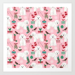 Bichon Frise pink christmas holiday themed pattern print pet friendly dog breed gifts Art Print