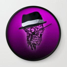 Elegant Skull with hat,hot pink Wall Clock