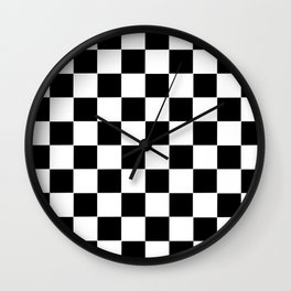 Checker Cross Squares Black & White Wall Clock