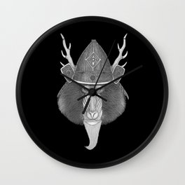Mandril Samurai (b&w version) Wall Clock