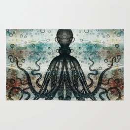 Octopus In Stormy Water Rug