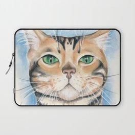 Bengal Cat Cattitude Watercolor Art Laptop Sleeve
