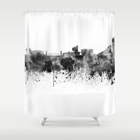 manchester Shower Curtains featuring Manchester skyline in black watercolor by Paulrommer