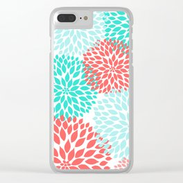 Coral Teal Dahlia Bouquet Clear iPhone Case