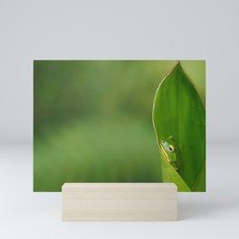 Green leaf watercolor Mini Art Print