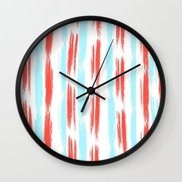 Red and Blue Oil Stripes Pattern Wall Clock