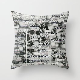 Divergence Toward Chaotic Attractors (P/D3 Glitch Collage Studies) Throw Pillow