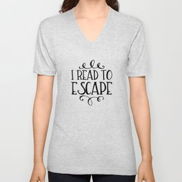 I Read to Escape (Trees) Unisex V-Neck