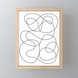 Minimal Black and White Abstract Line Framed Mini Art Print