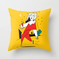 Throw Pillows featuring fashion woman and night city  by lightnass