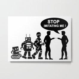 Funny robot evolution Metal Print