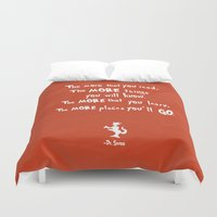 dr seuss Duvet Covers featuring dr seuss the more that you read by studiomarshallarts