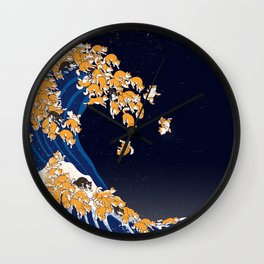 Shiba Inu The Great Wave in Night Wall Clock