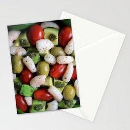 Avocado Shrimp Olive Tomato Pesto Salad Stationery Cards
