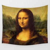 mona lisa Wall Tapestries featuring Mona Lisa by Color and Patterns