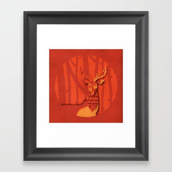 Deer in the woods Framed Art Print