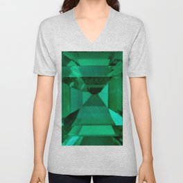 FACETED EMERALD GREEN MAY GEMSTONE Unisex V-Neck