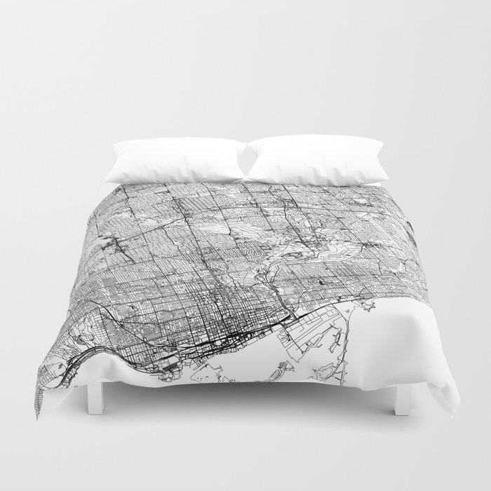 Toronto White Map Duvet Cover