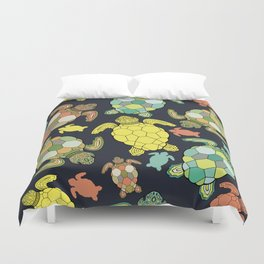 Colorful happy turtles. Duvet Cover