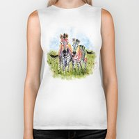 zebra Biker Tanks featuring Zebra by Anna Shell