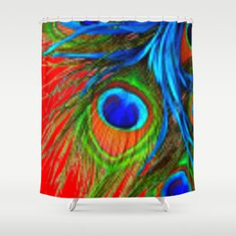 RED & BLUE-GREEN  BAROQUE  PEACOCK FEATHERS ART Shower Curtain