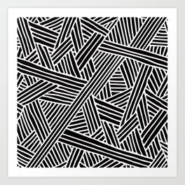 Abstract black & white Lines and Triangles Pattern - Mix and Match with Simplicity of Life Art Print