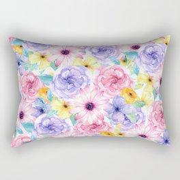 Trendy pink lavender yellow watercolor floral Rectangular Pillow